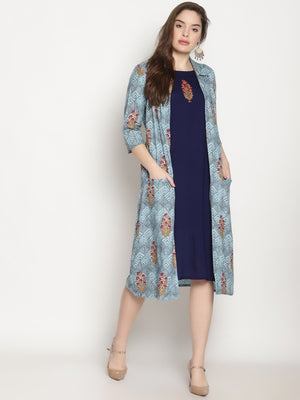 Blue Printed Cape Dress With Embroidery | UNTUNG