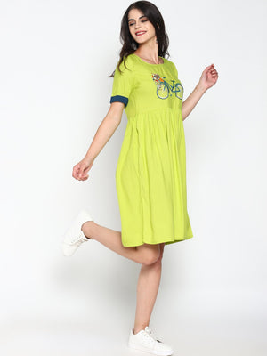 Skater Dress With Chest Embroidery | UNTUNG
