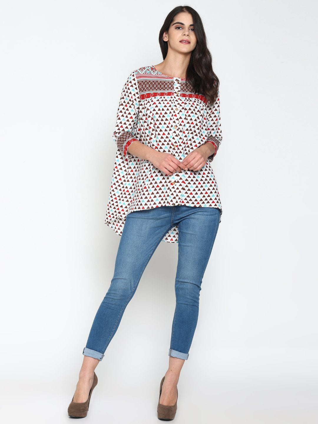 White Printed Front Open Top | Untung