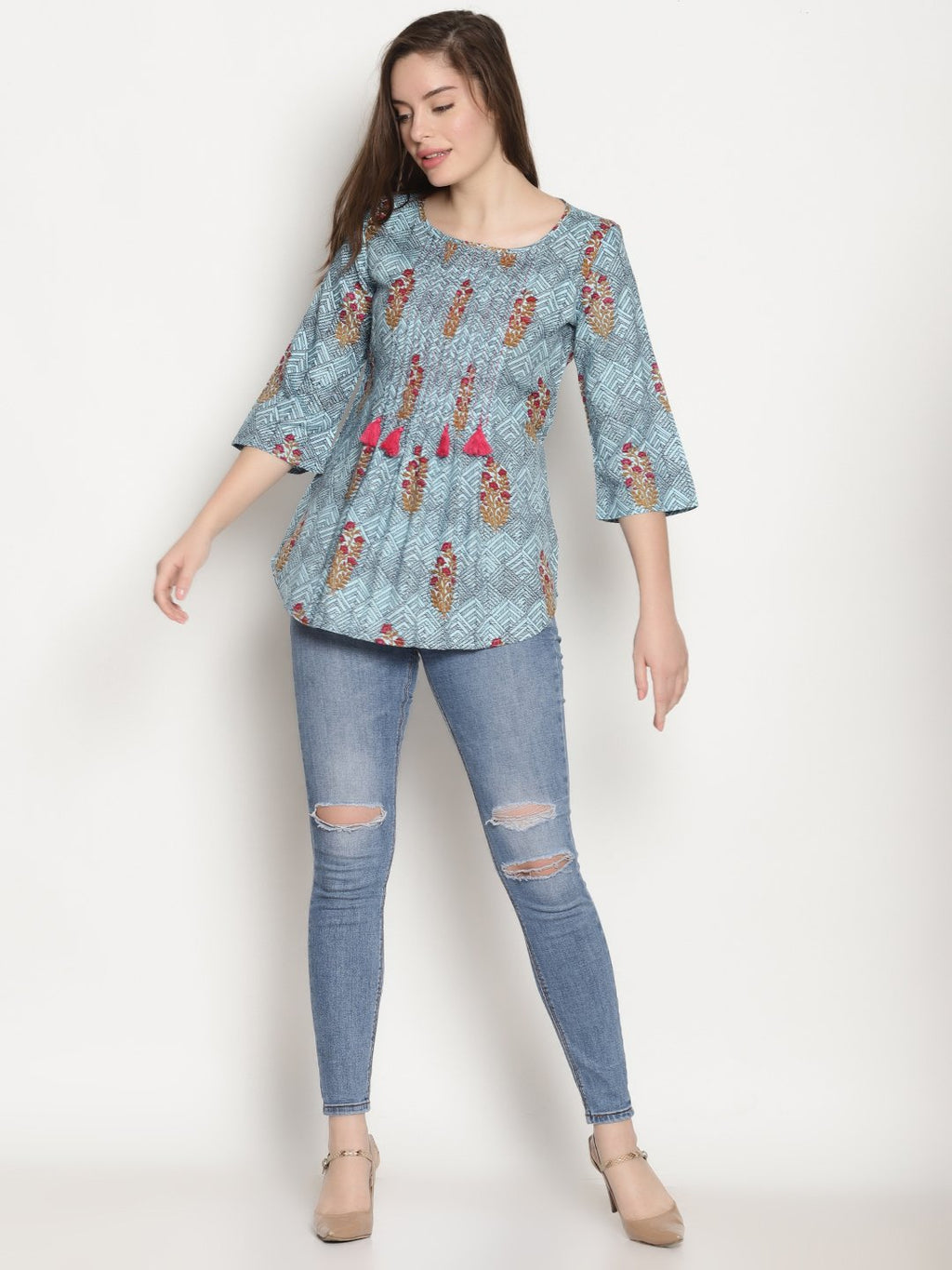Blue Printed Tasseled Top | Untung