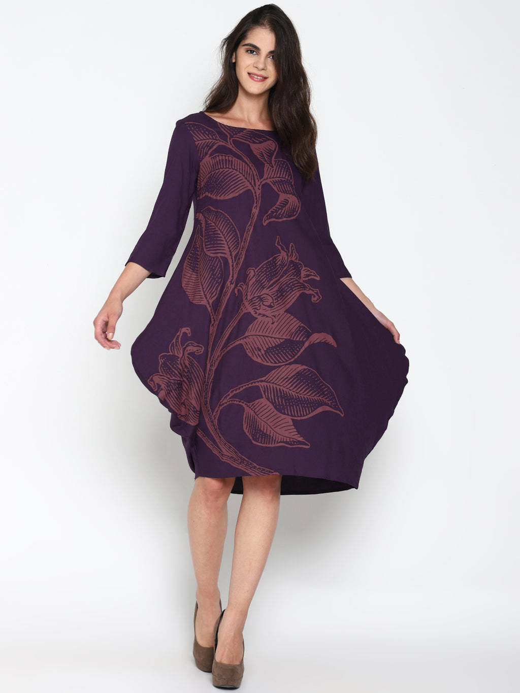 Dress with Floral Placement Print
