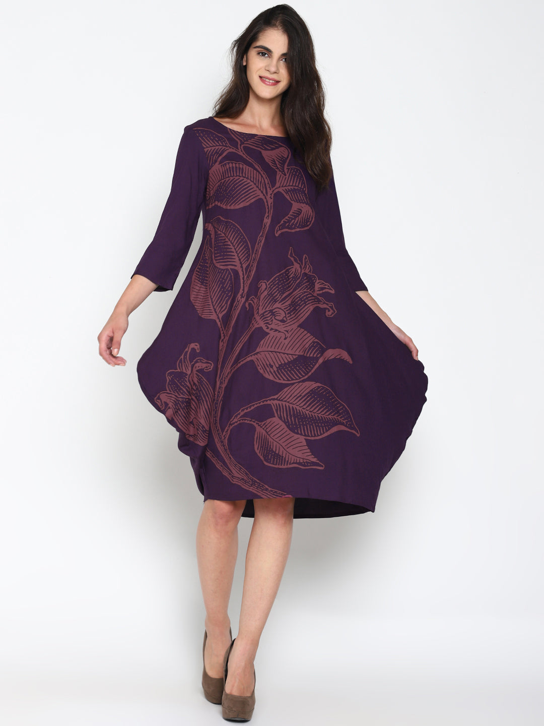 Purple Dress With Floral Placement Print | Untung