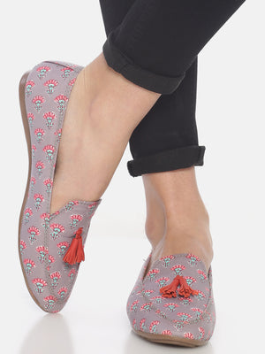 Grey Floral Block Printed Loafers
