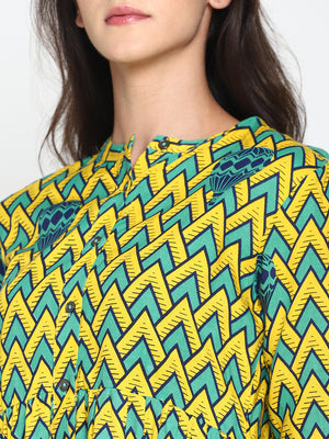 Yellow Printed Dress With Front Pockets | Untung