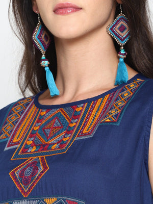 Blue Embroidered Kurta | UNTUNG