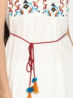 Off White Shift Dress With Multicolor Embroidery And Tieups | UNTUNG