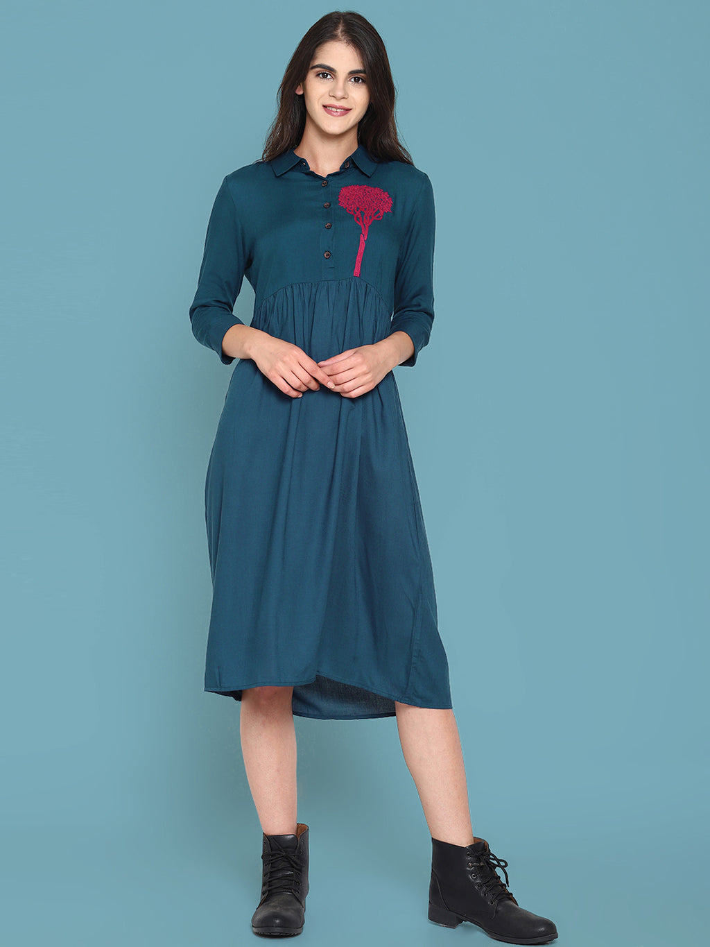Blue Shirt Dress With Embroidered Tree Motif | Untung