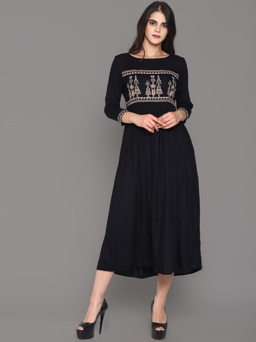 Black Maxi Dress With Tribal Embroidery | Untung