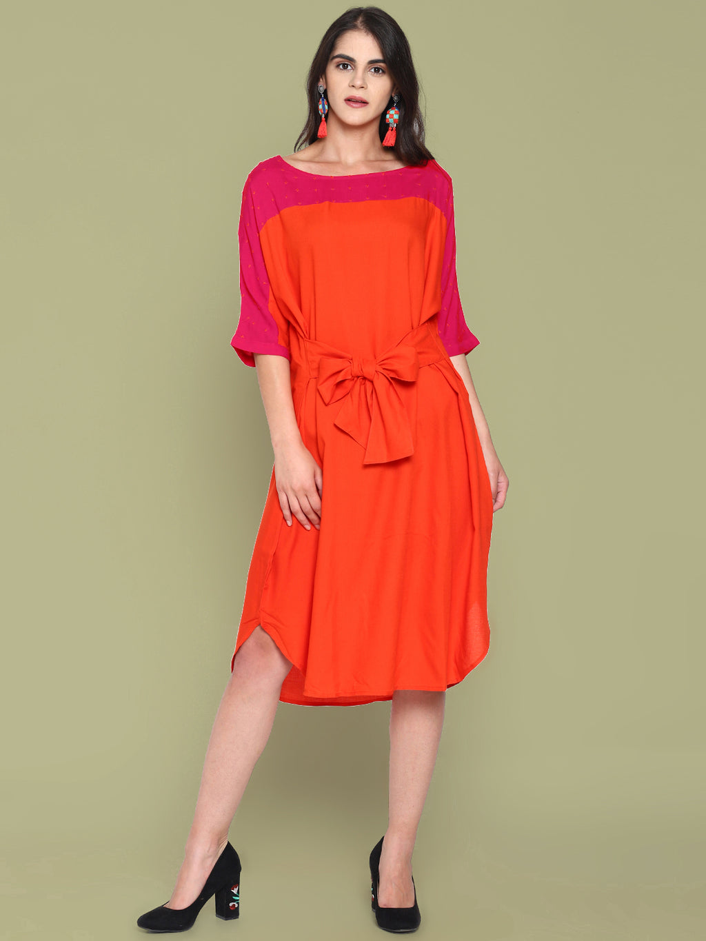 Orange Color Block Shift Dress With Tie Ups | Untung