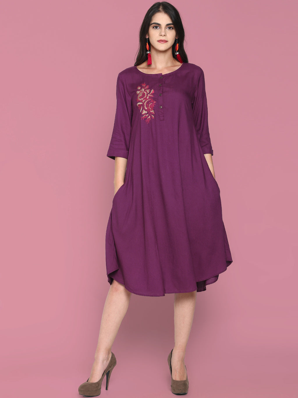 Purple Flared Shift Dress With Embroidery | Untung
