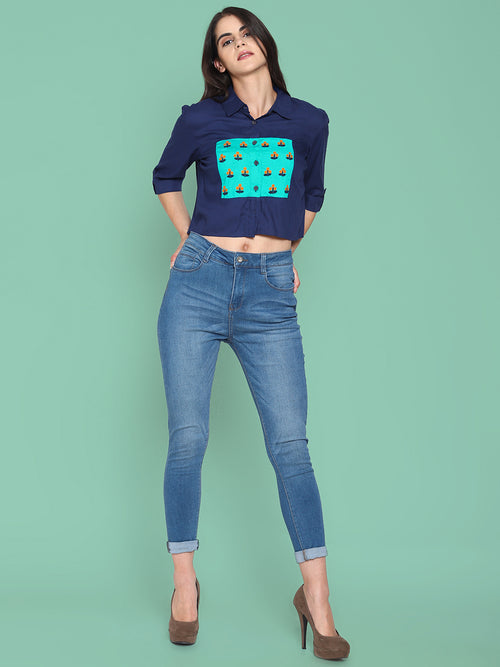 Navy Bluecolor Block Crop Top With Embroidery | Untung