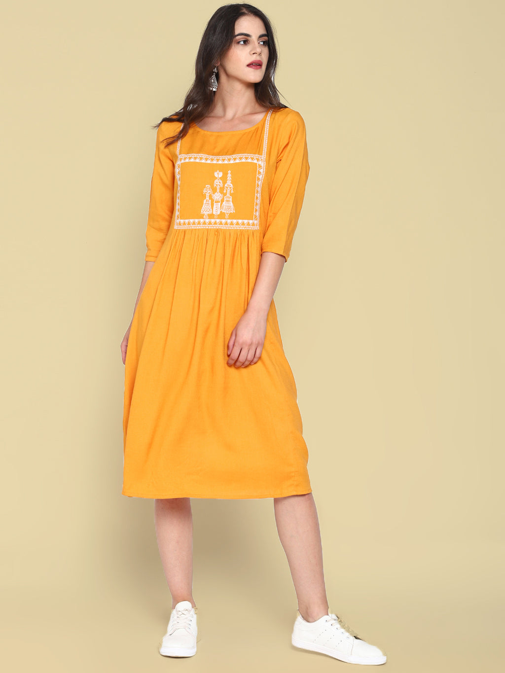 Mustard Dress With Embroidered Yoke | Untung