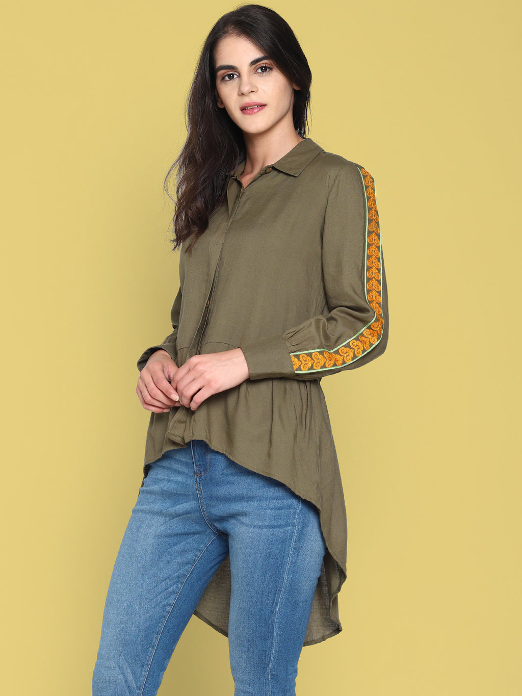 Olive Green High Low Shirt With Emroidered Sleeves | Untung