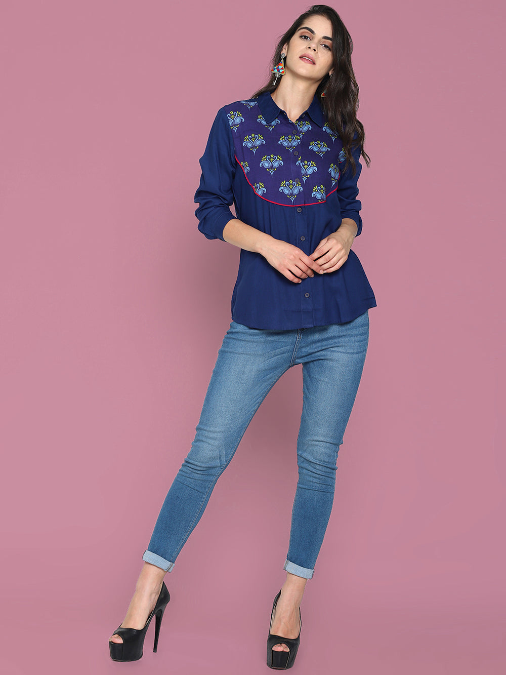 Blue Navy Blue Shirt With Printed Yoke | Untung