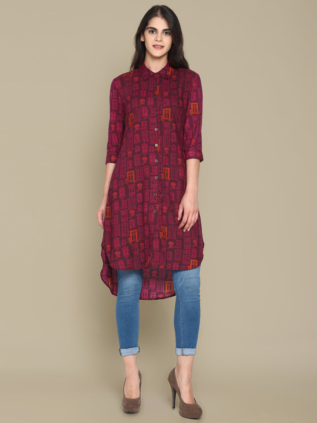 Wine Printed High Low Shirt Dress | Untung
