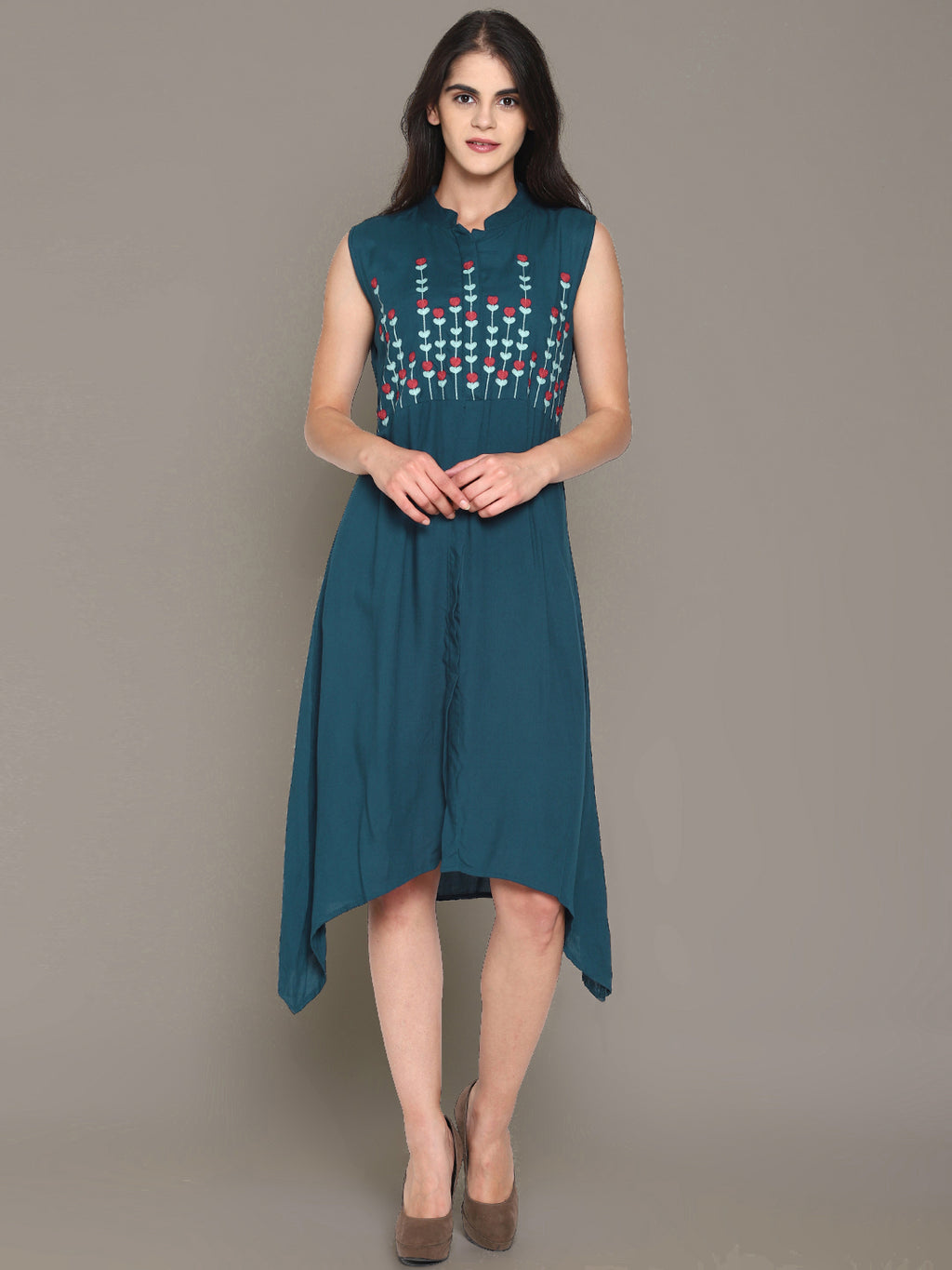 Blue Embroidered Front Open Shirt Dress | Untung