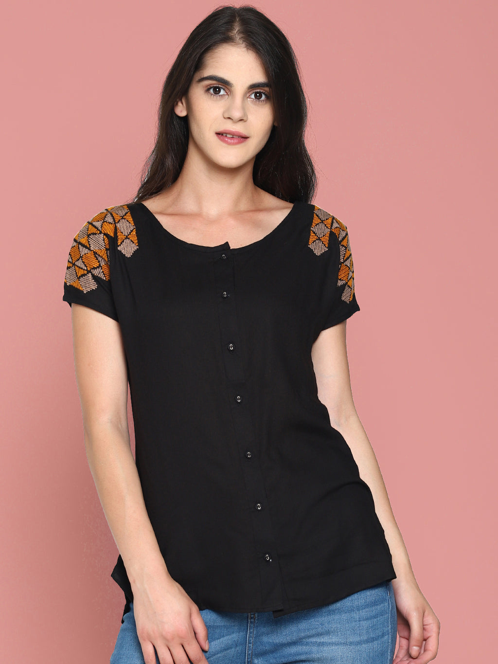 Embroidered Front Open Top | UNTUNG