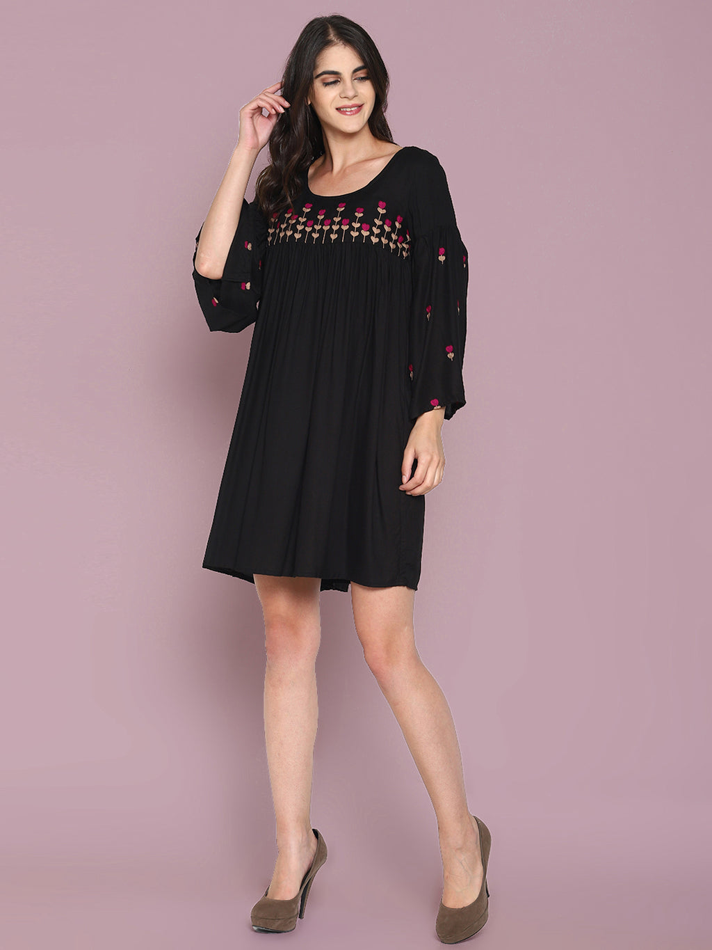 Embroidered Gathered Dress with Bell Sleeves