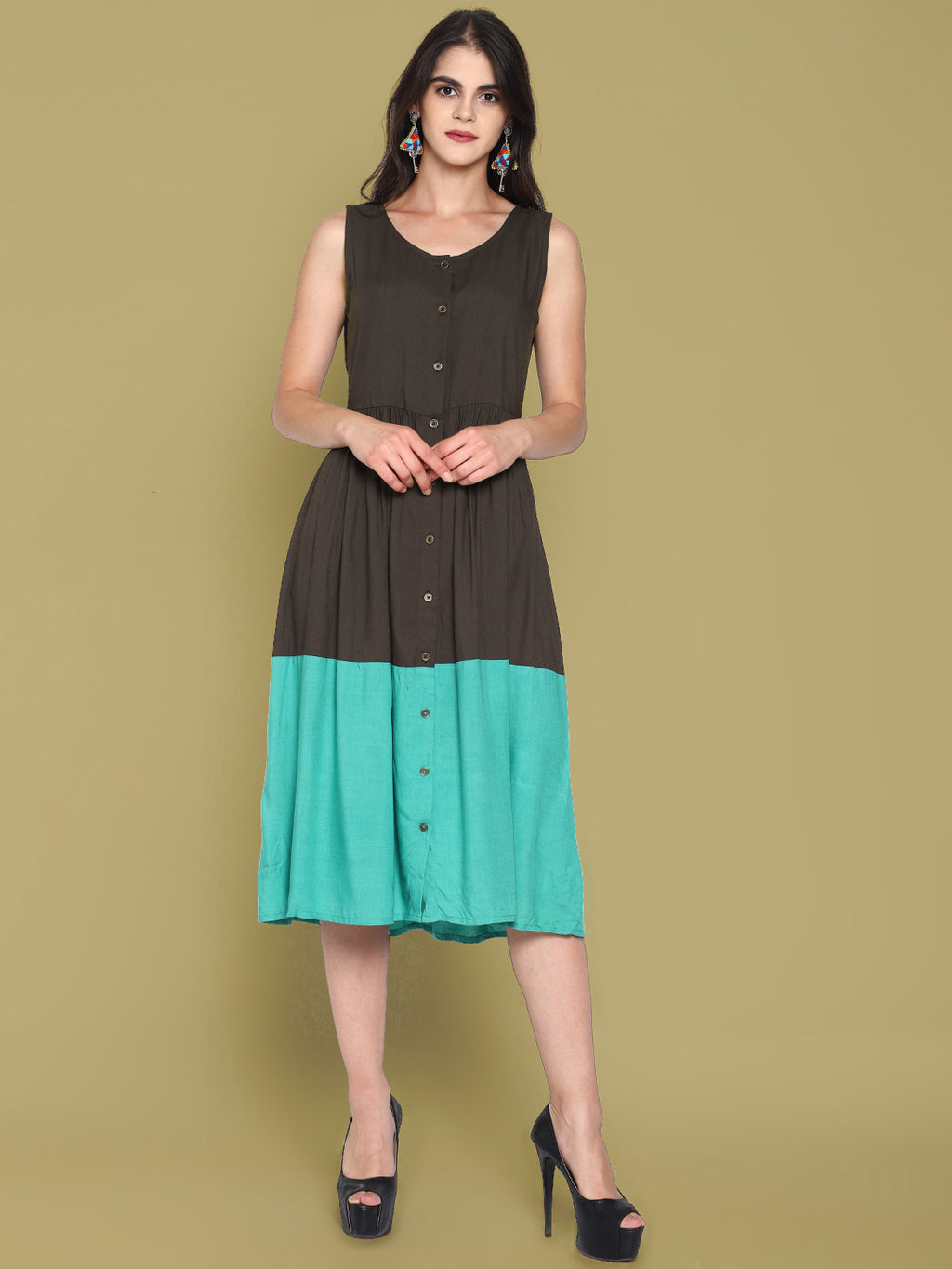 Grey Front Open Color Block Dress | Untung