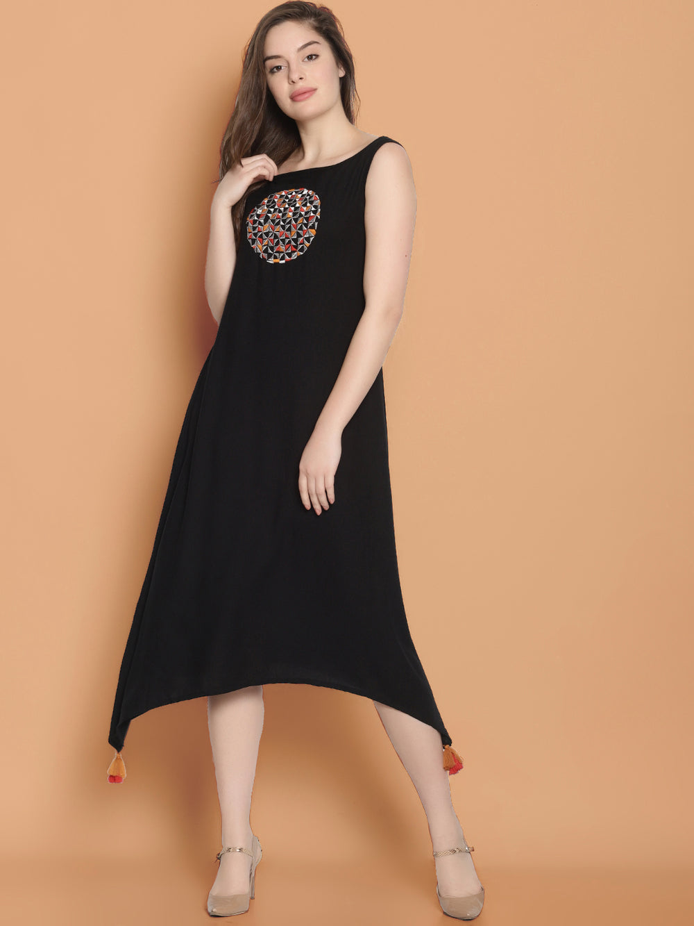Black Embroidered Long Dress | Untung