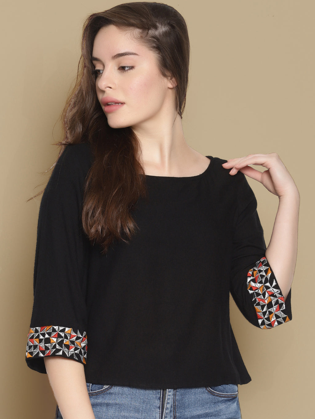 Black Embroidered Top | Untung