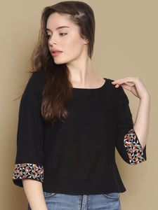 Black Crop Top With Embroidered Sleeves
