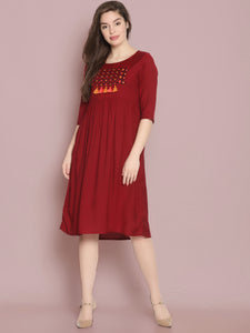 Maroon Gathered Dress With Chest Embroidery And Tassels