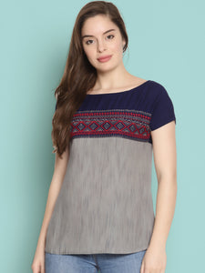 Grey and Blue Mix n Match Top With Embroidery