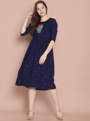 Blue Gathered Dress With Embroidery on Chest and Hem