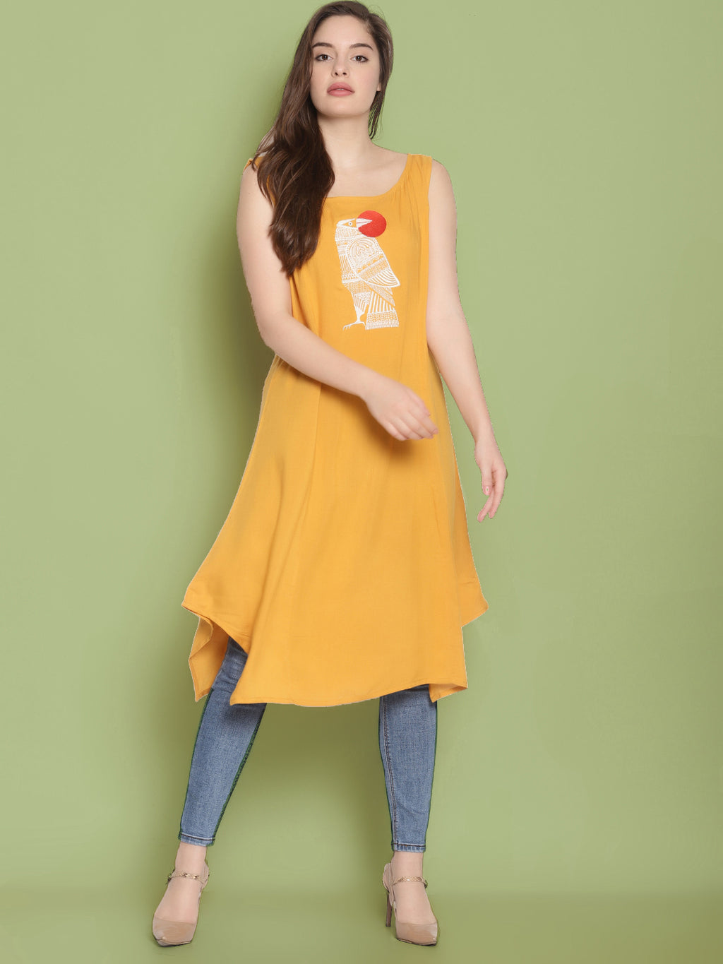 Yellow Sleeveless Kurta With Bird Embroidery