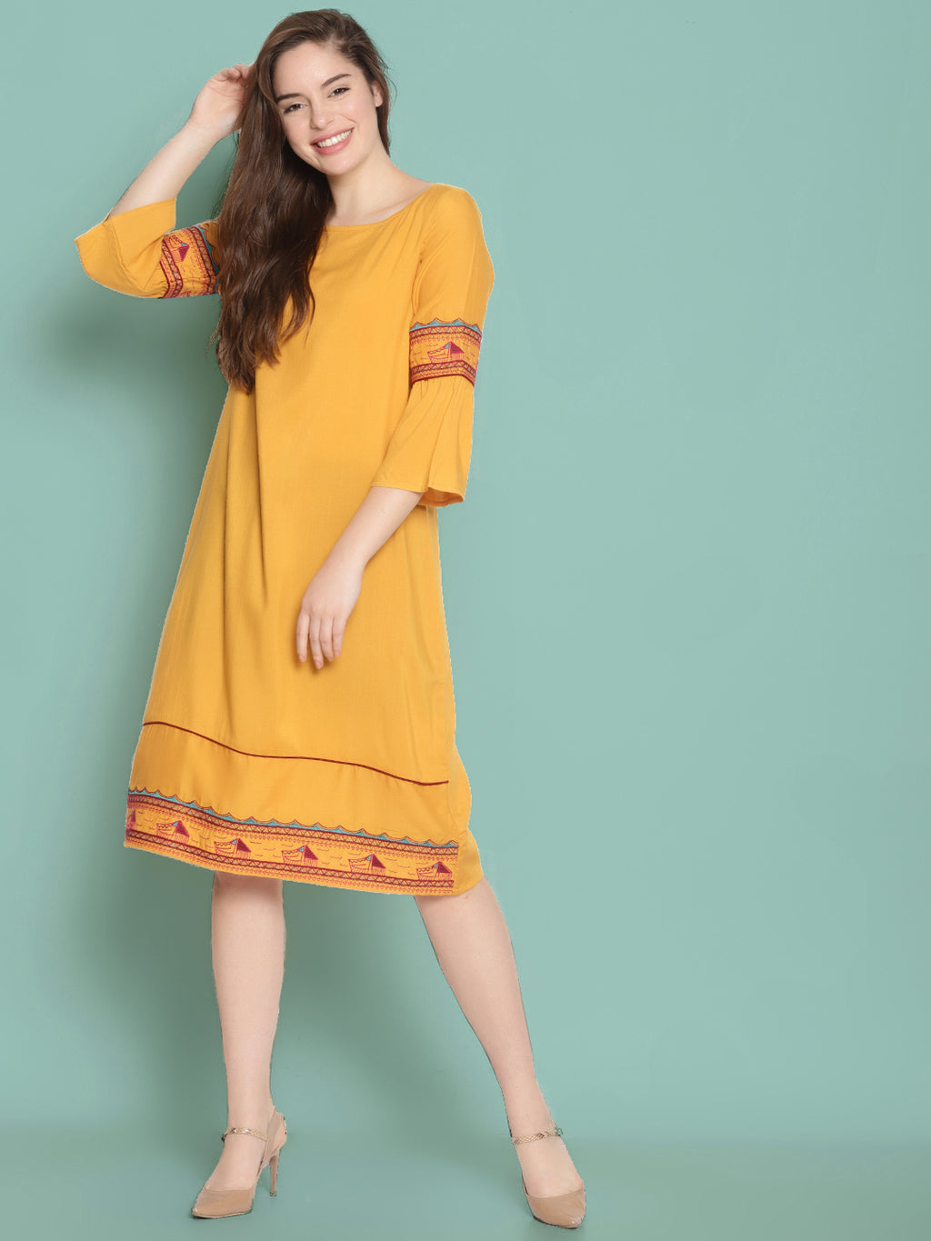 Yellow Embroidered Shift Dress with Ruffled Sleeves