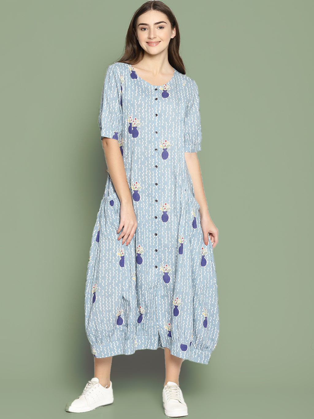 Grey Vase Printed Jhabla Dress | Untung