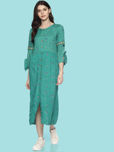 Mint buttoned printed dress with embroidery on sleeve and tie ups | UNTUNG