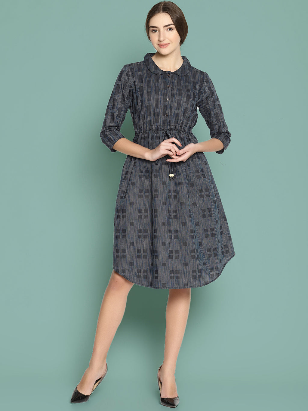 Grey Woven Dress With Peter Pan Collar | Untung
