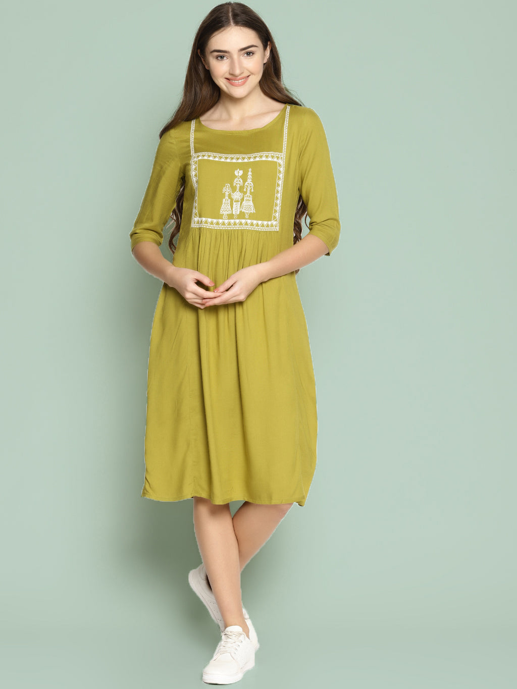 Khaki Shift Dress With Embroidery | Untung
