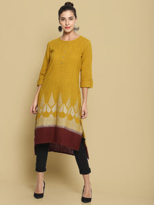 Mustard Kurta With Dip Dye and Printed Hem