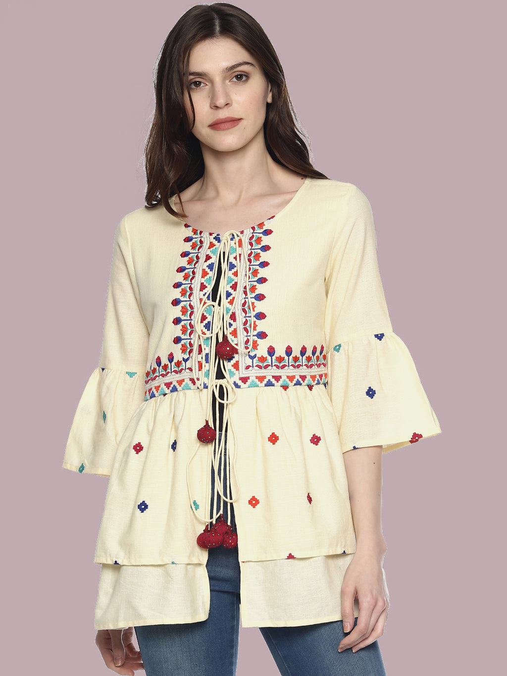 Off White Organic Cotton Shrug With Embroidery