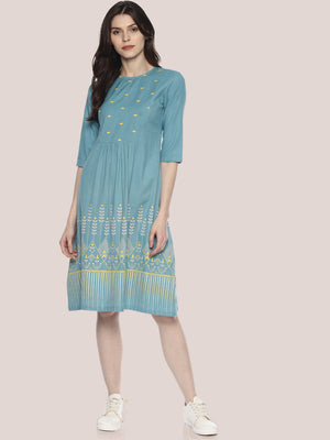 Light Blue Embroidered Dress With Border Print