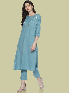 Light Blue Arrow Printed Kurta