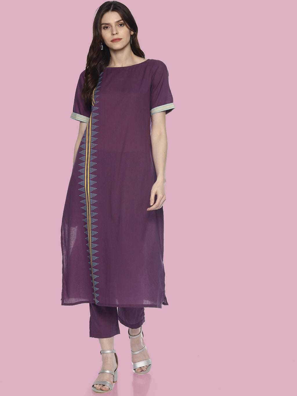 Purple Printed Kurta