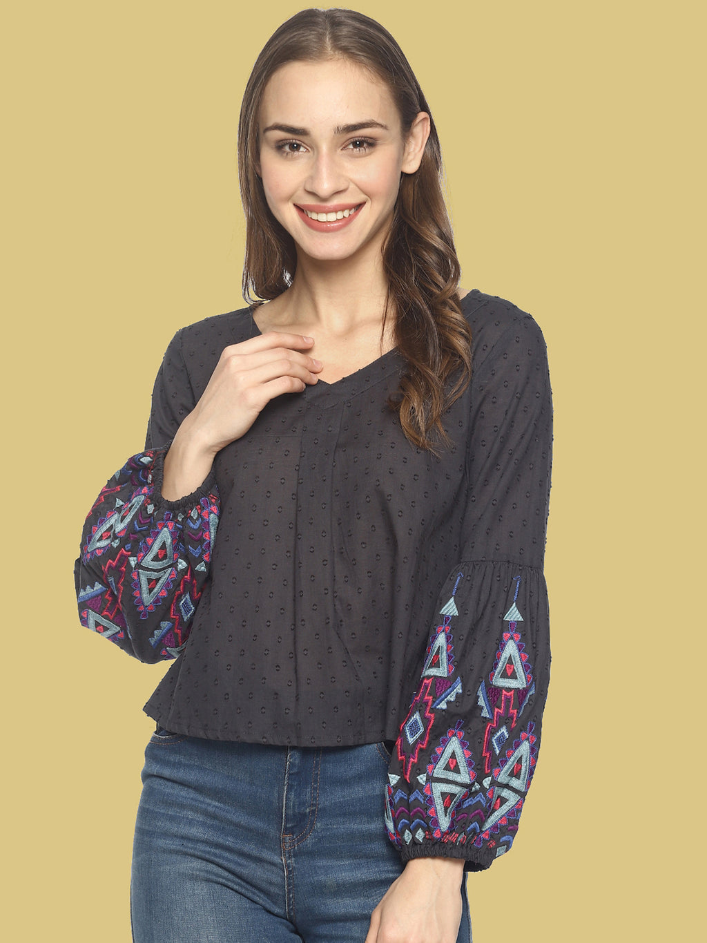 Grey Crop Top With Embroidered Sleeves | Untung