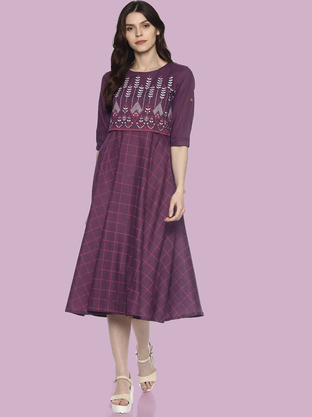 Purple Flared Printed Dress