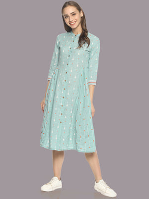 Blue block printed front open dress with embroidery | UNTUNG