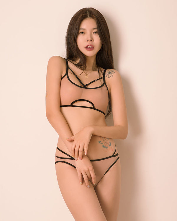 CLEAN CUT SEE THROUGH BRALETTE SET - Bada Korea