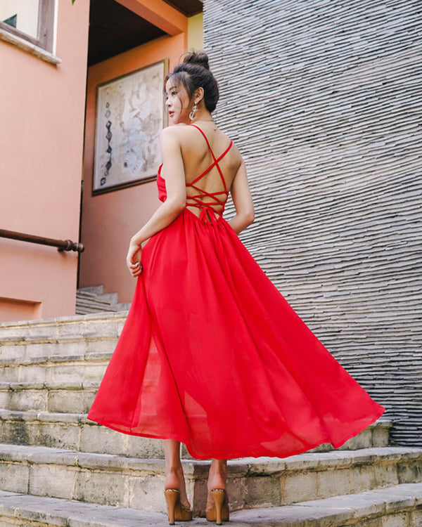 BEAUTIFUL RED CHIFFON DRESS - Bada Korea