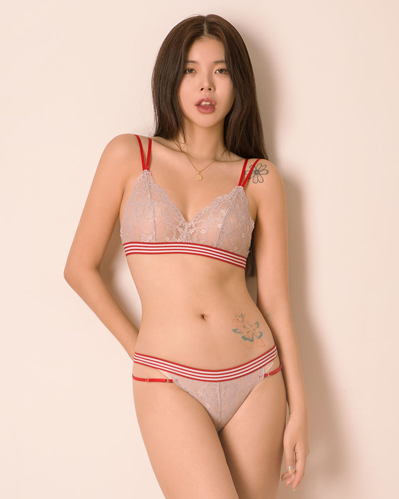 LOVE STRAPPY LACE BRALET SET - Bada Korea