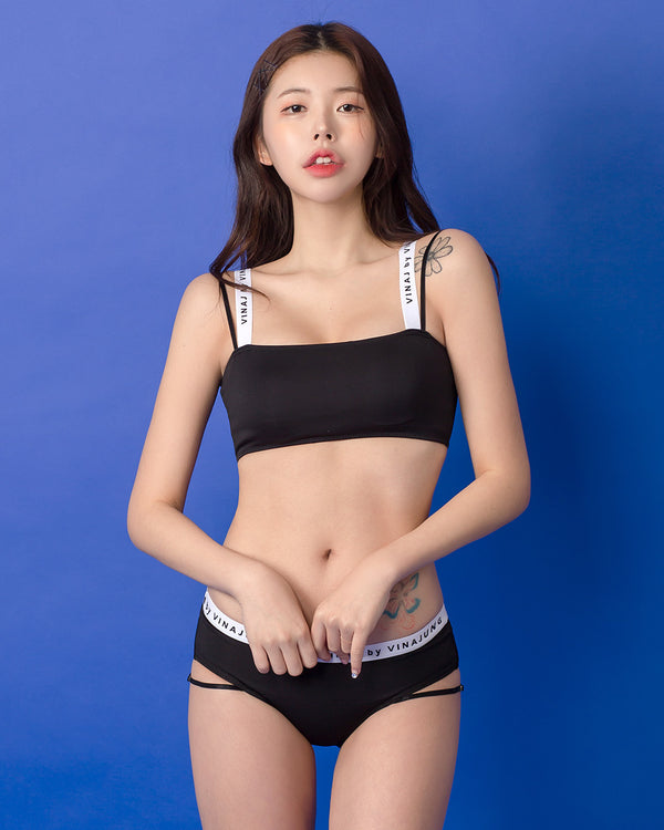 BLACK LOGO TUBE TOP SET - Bada Korea