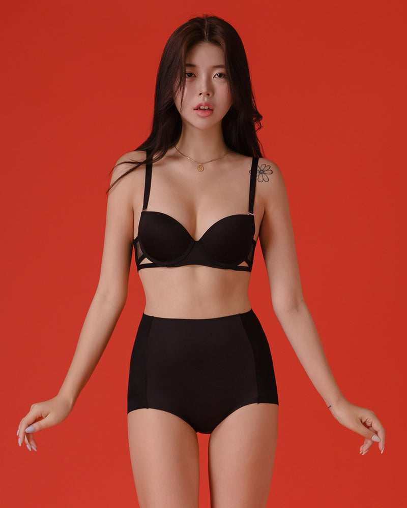 BLACK BASIC 3/4 HIGH PANTY SET - Bada Korea