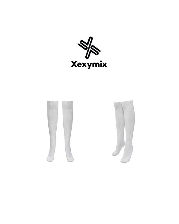 CORDUROY OVER KNEE SOCKS WHITE - Bada Korea