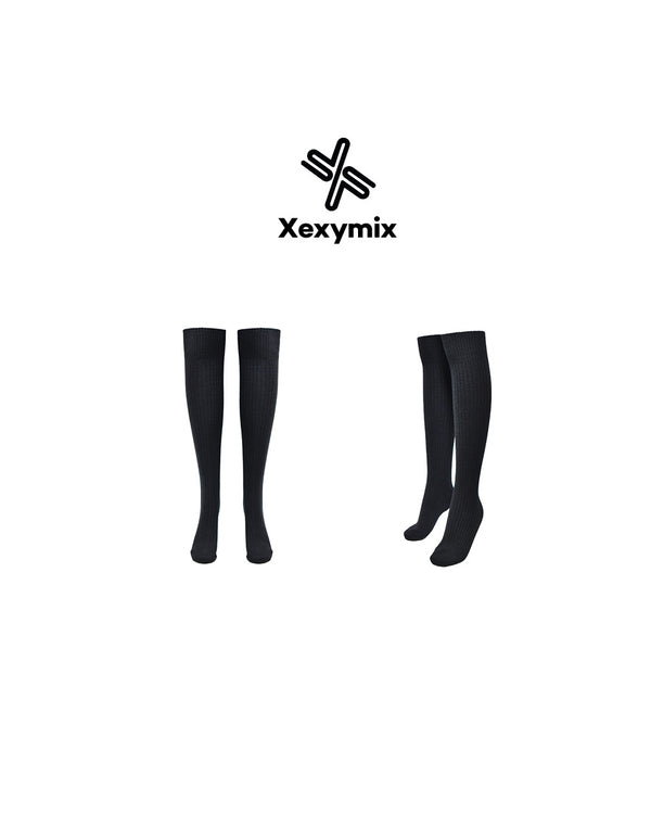 CORDUROY OVER KNEE SOCKS BLACK - Bada Korea